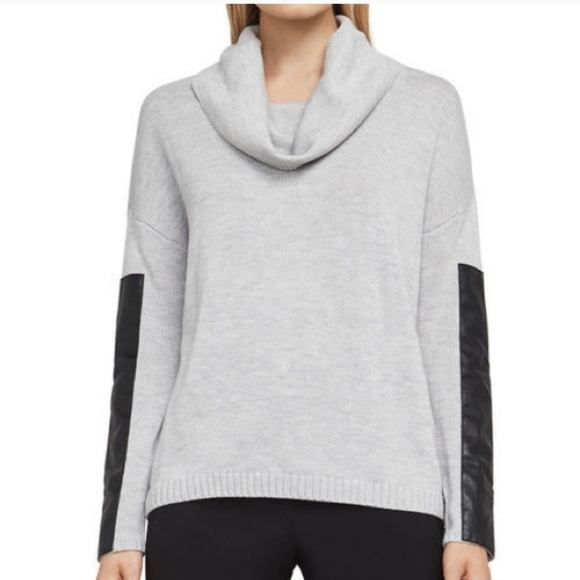 Cowl-neck leather sleeve sweater